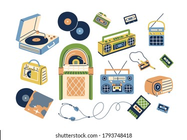 Collection of retro analog music players and cassette recorder, headphones, tape, jukebox, boombox. Set of vintage audio devices - turntable, vinyl record. Flat vector illustration isolated on white