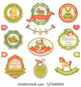 Collection of retro baby design labels, symbols and elements.