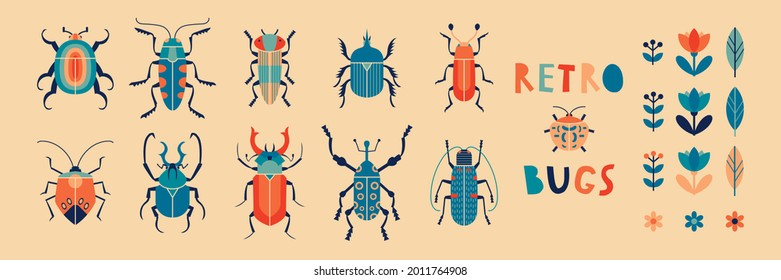 Collection of retro bugs and florals. Vector illustration set of beetles in colorful vintage style 1960s.