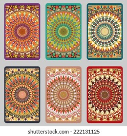 Collection retro cards. Ethnic backgrounds. Card of invitation. Vintage design elements
