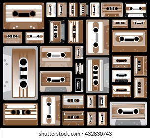 collection of retro colored cassette tapes vector illustration. old school music