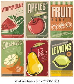 Collection of retro fruit poster designs. Vintage vector food signs set with promotional messages.