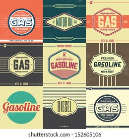 Collection of Retro Gasoline Signs / Motor Oil / Vintage Background