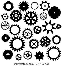Collection of retro gear icon. Vector vintage transmission cogwheels and gears. Can be used for industrial, technical, mechanical and steampunk design. EPS8