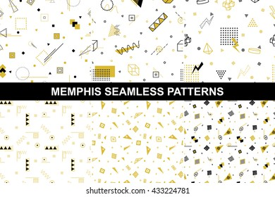 Collection of retro geometric patterns with mosaic shapes - seamless backgrounds. Retro memphis style. Fashion 1980-1990s. Luxury black - gold textures.