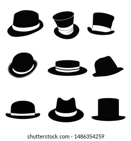 Collection of retro hats silhouette.  black man's retro hat with white ribbons on a white background