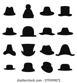 Collection of retro hats silhouette. Top hat isolated on white. Hat icon set  logo, top black hat object. Vector illustration.