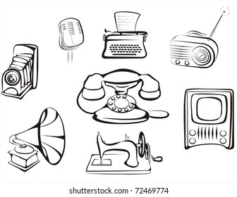 collection of retro home related objects in simple black lines