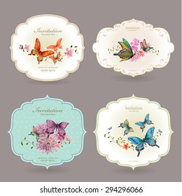 collection retro label with butterflies. watercolor painting. vector illustration