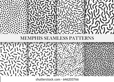 Collection of retro memphis patterns - trendy seamless swatches. Fashion style 80-90s. Black and white mosaic curve textures. Can be used for cloth design or like template for your other ideas.