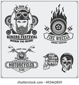 Collection of retro motorcycle labels, emblems, badges and design elements. Vintage style. Monochrome design.