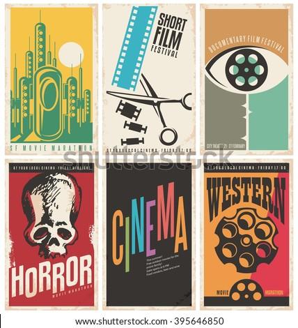 collection retro movie poster design concepts のベクター画像素材