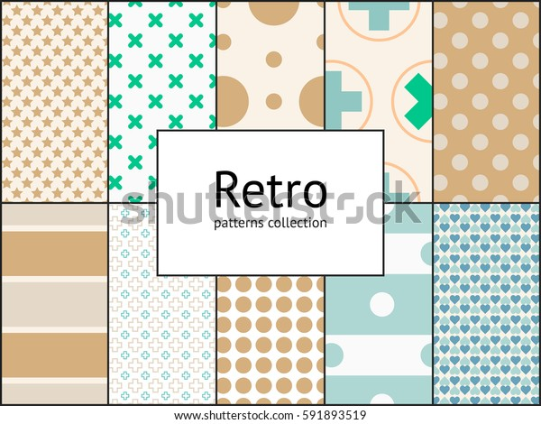Collection of retro patterns. 10 different vintage tiling seamless patterns. Endless texture for wrapping wallpaper, web background, surface textures, pattern fills. Set of vector geometric ornaments
