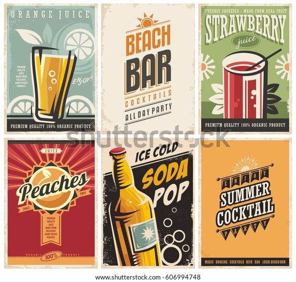 Collection Retro Posters Organic Juices Popular Stock Vector