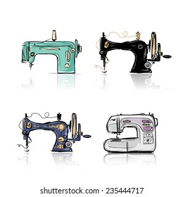 Collection of retro sewing machine, sketch for your design. Vector illustration