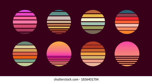 Collection of retro sunsets in the style of the 80-90s. Abstract background with a sunny gradient. Bright colors. Design template for logo, icons, banners, prints. Isolated dark background. Vector