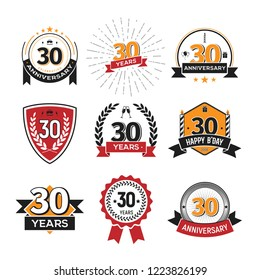 Collection of retro thirty anniversary logo. Set of Isolated vintage icons of 30 th years celebrating vector illustration