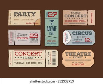 Collection of retro tickets.