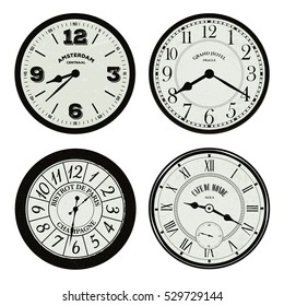 Collection of Retro / Vintage / Antique World Clock Faces