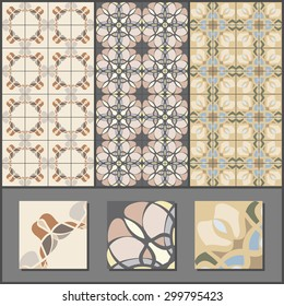 Collection of retro vintage ceramic seamless tile patterns. Pastel colors