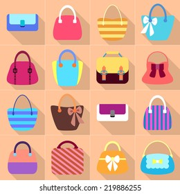 Collection of Retro Woman Bags. Colorful Icons Set with Long Shadows. Vector Design