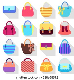 Collection of Retro Woman Bags Isolated on White Background. Colorful Icons Set with Long Shadows. Vector Design