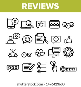 Collection Reviews Thin Line Icons Set Vector. Reviews, Feedback And User Experience Of Client Linear Pictograms. Loyalty And Testimonials From Customer Dumptruck Monochrome Contour Illustrations