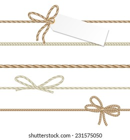 Collection of ribbons and bows in rope style for your design