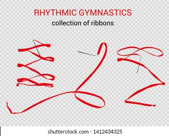 a collection of ribbons of red color for rhythmic gymnastics, aesthetics, dance, choreography. Beautiful vector, light, airy and transparent background