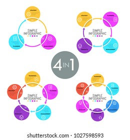 Collection of ring-like diagrams with colorful flat round elements, thin line icons and text boxes. Concept of cyclic business process. Simple infographic design template. Vector illustration.