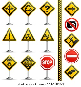 Collection Road Signs on a Pole, isolated on white background, vector illustration