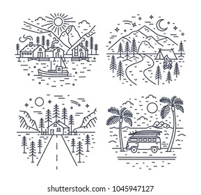 Collection of road trip touristic locations or landscapes with mountains, sea and forest trees drawn with black contour lines on white background. Monochrome vector illustration in lineart style.