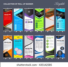 Collection of Roll Up Banner Design stand template, flyers design , advertisement, display layout