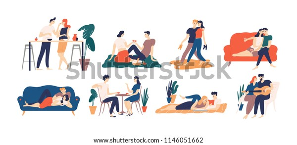 Collection of romantic couple spending time or relaxing together - having picnic, reading books, drinking coffee or wine, playing guitar, walking. Colorful vector illustration in flat cartoon style