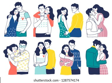 Collection of romantic couples isolated on white background. Set of portraits of men and women in love.  Hand drawn vector illustration