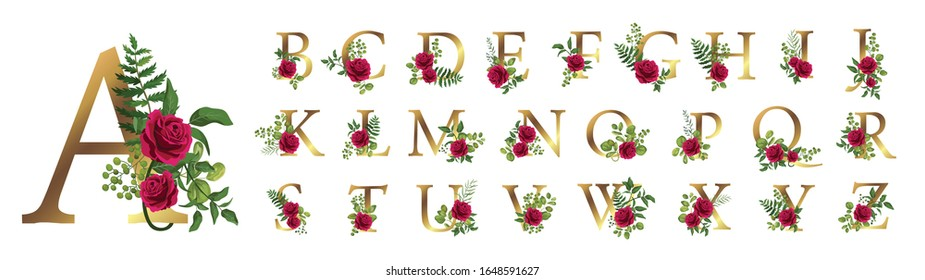 Collection romantic gold letters with drawn watercolor leaves and red rose. Elegant alphabet for book design, brand name, wedding invitation thanks card on white background