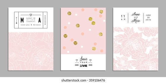 Collection of romantic invitations with gold glitter texture. Wedding, marriage, bridal, birthday, Valentine's day. Isolated. Vector