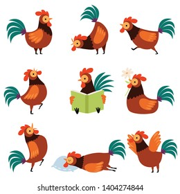Collection of Roosters with Bright Plumage in Different Situations, Farm Cocks Cartoon Characters