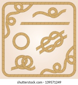 Collection of rope templates with knots, corners and frames