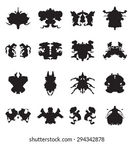 Collection of Rorschach test inkblots. Vector illustration