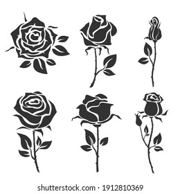 Collection of roses. Vector illustration.