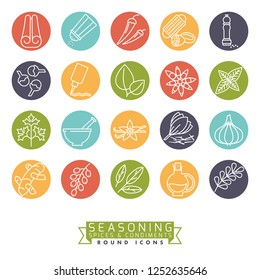 Collection of round colored spices, herbs, condiments and seasoning vector icons