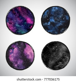 Collection of round colorful cosmic, astro vector backgrounds or night sky with stars, universe, galaxy. Watercolor shape with frame. Watercolour stains circles set with brush edges border.