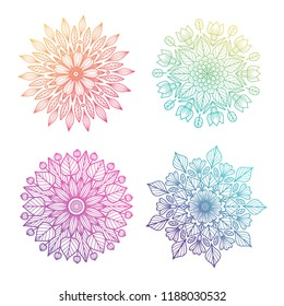 Collection of round gradient mandala isolated on white  background. Vector boho mandala in bright colors. Mandala with floral  ornament. Yoga template