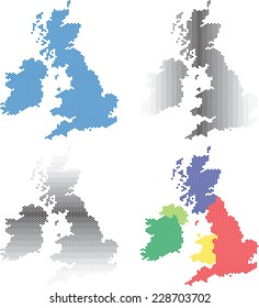 Collection of round hexagon maps of United Kingdom and Ireland. Vector illustration.