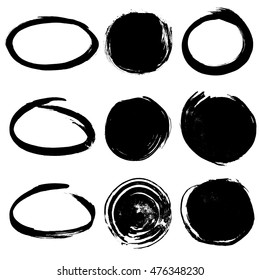 Collection of round ink frames and background