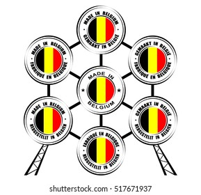 "Collection of round labels ""Made in Belgium"", different languages, Atomium icon"