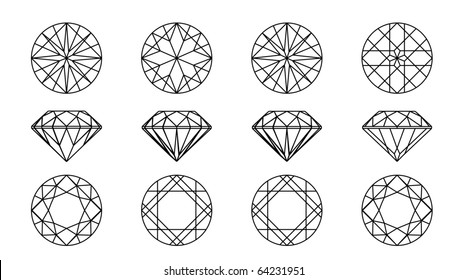 Collection round shapes of a gemstone against white background. Wireframe