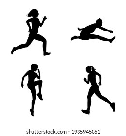 a collection of running athlete silhouettes