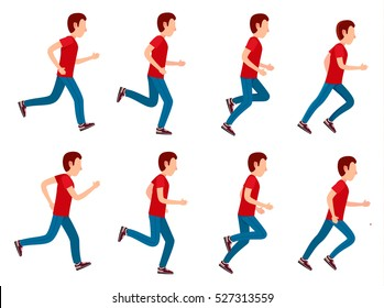 Collection of running man icons. Animation sprite set frame loop. Sport. Run. Active fitness. Exercise and athlete. Variety of sport movements. Flat cartoon style. Side view. Simple design. Vector